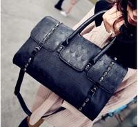 2013 New designer  fashion street style skull messenger bag handbag embossed metal decoration female's bag   free shipping