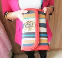 Free shipping!   2013 vertical stripe wove women's day clutch chain messenger bag mini backpack