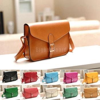 Retro Vintage Women Crossbody Sacthel Shoulder Messenger School Bag Pu Leather Handbag 10 Color