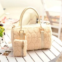 2012 autumn and winter fashion heart bags handbag cross-body women's faux handbag white bag free shipping !