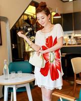 Женская футболка 2013 Bohemia full dress short-sleeve dress plus size maternity clothing skirt loose waist one-piece dress