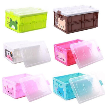 Various Color ABS Plastic Foldable Child Toy Organisation Storage Box With Lid HQS-G2037