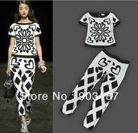 Free shipping New luxury big runway section of the magazine geometric print two-piece