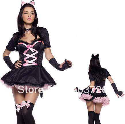 High Quality Fashion Costume Cute Costumes For Girls Bunny Costume With Headdress(China (Mainland))