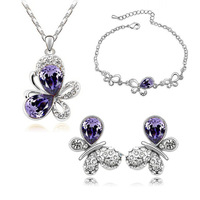 Wholesale  White Gold Plated Austrian Crystal Rhinestone Butterfly Fashion Jewelry Sets make with swarovski elements 1115