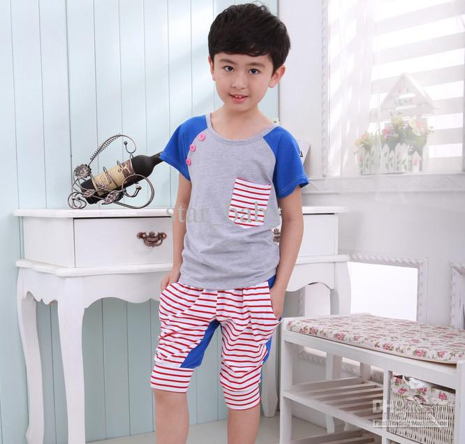 New Trendy Kids 2pcs Set Boys Stripe Short Sleeve Cotton T-shirt+Shorts Children Clothing 5427(China (Mainland))