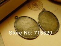 Free shipping  Inner size 30*40mm,antique Pendant base Setting/bronze pendant ,alloy base cameo setting by 50pcs/lot