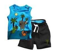 3 sets Coconut tree vest short sports 2pcs clothing set children sleeveless shirts+pants whole suits blue yellow free shipping