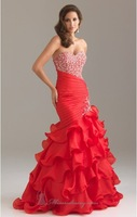 Gorgeous!high quality sweetheart party gowns sexy mermaid prom dress 2013 ruffle pleated red pink tiered hidden zipper sheath
