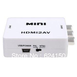 Best quality Etekcity Mini HDMI to AV Composite RCA CVBS Video + Audio Converter For TV PS3 VHS VCR DVD Freeshipping