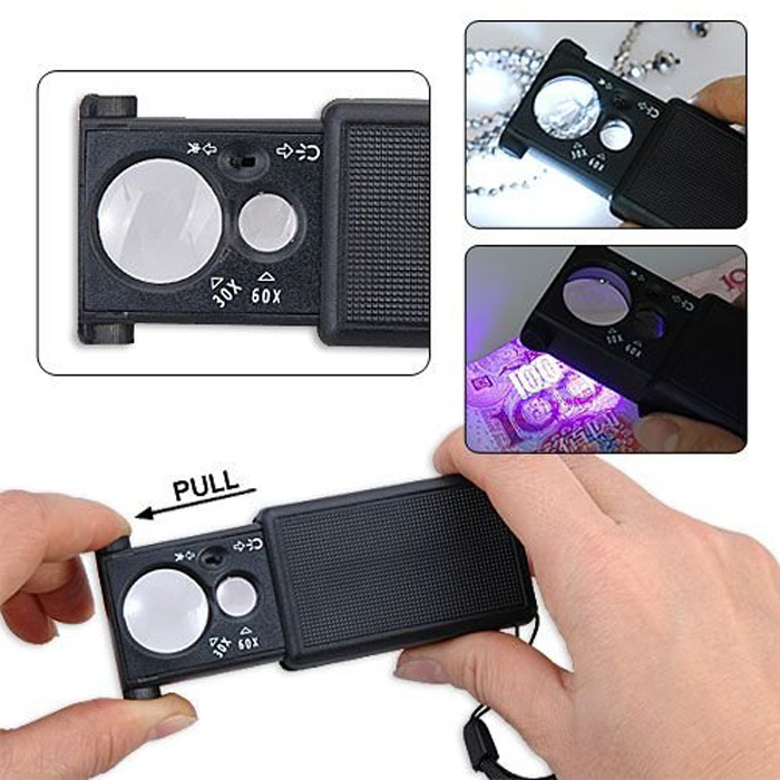 F05075 30X 60X Mini Portable LED Currency Detecting Jewellery Identifying Magnifier Loupes Pullout Switch(China (Mainland))