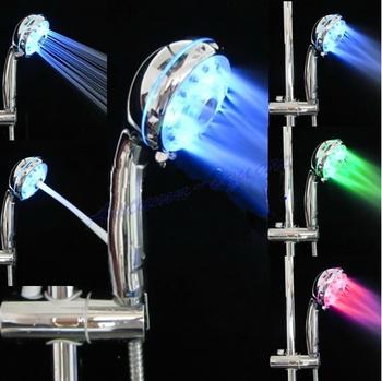 Free Shipping Adjustable 3 Mode LED Light Shower Head Sprinkler Temperature Sensor Bathroom