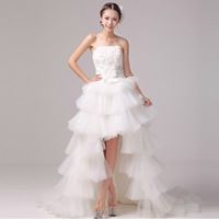 2013 Short Front Long Back Wedding Dress, Tiered Beach Casual Bridal Dress ,Free Shipping