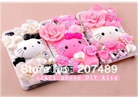 3D luxurious white pink cartoon Rhinestone art craft cellphone mobile phone cases DIY kits decorations