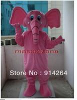 New PINK Elephant Mascot Costume Fancy Dress Adult Size   /free shipping