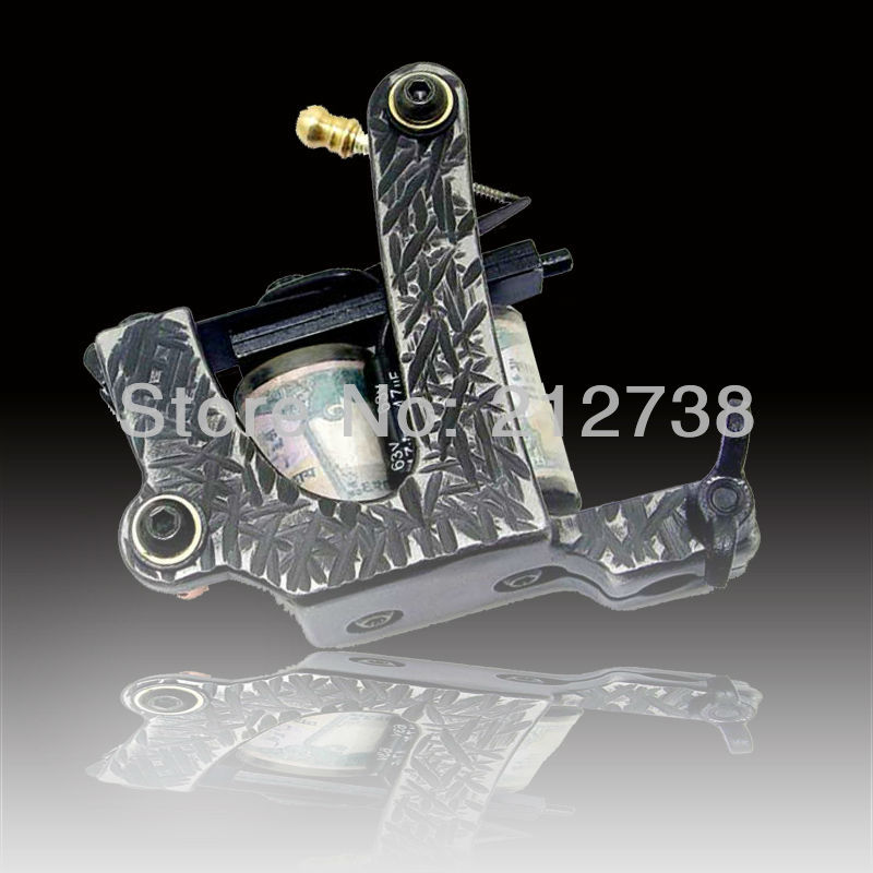 free shipping One Custom Pro Top Carbon Steel 10 Wrap Coils Tattoo Machine Gun Supply -tattoo machine good quality(China (Mainland))