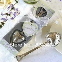 Factory Outlet Wholesale Tea Time Heart Tea Infuser Wedding Favors+50pcs/Lot+Free Shipping