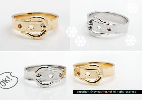 Min order $15(Mix order) Europe export Personality Belt type gold and silver belt buckle ring,Export ring,free shipping #zw024(China (Mainland))