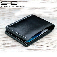 purchase factory 100% handmade sewing leather wallet  it top quality  with card slot in printed logo gift  box  free shipping