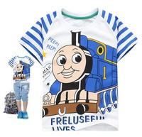 free shipping  2013 new  Thomas locomotive  striped boy's t-shirt best quality cotton summer children O neck t-shirt