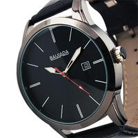 ESS New Mens Classic Black Dial Auto Date Leather Quartz Wrist Watch WM246