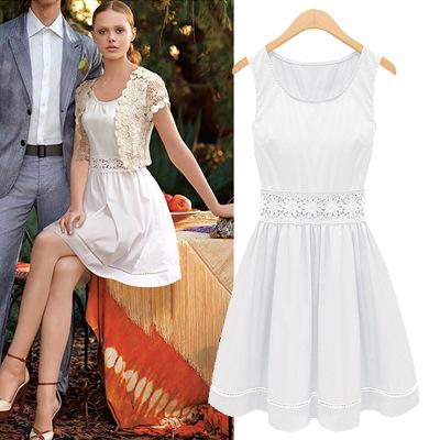 Женское платье Vintage Round Collar Sleeveless Flower Hollow Waist Pleated Blouson Dress