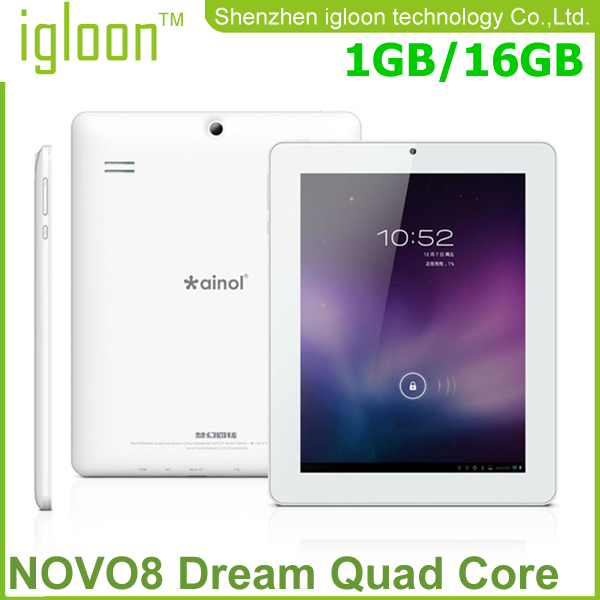 Stock White/black Hotselling Ainol NOVO8 (16G)dream A9 quad-core tablet 8inch dual camera Tablet pc(China (Mainland))