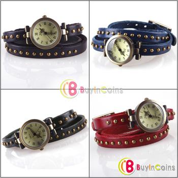 Retro Woman Elegant Rivet Studded Wrap Around Leather Bracelet Wrist Watch [31155|99|01]