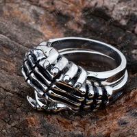 Free Shipping! 2pcs Stainless Steel Double Skull Skeleton Hand Ring MER208