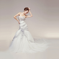 2013 wedding formal dress sparkling diamond fish tail slim hip flower big train wedding dress bride white bandage