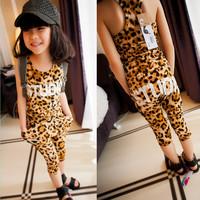 2013 new arrival  female children pants set 2 pieces set:personalized letter leopard print tank+harem pants set