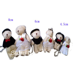20pcs/lot Marriage gauze bear Mobile Chain Couples bear joints bear gift toydoll free shipping(China (Mainland))