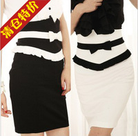 Summer high quality product black-and-white xiangpin bow ruffle tight-fitting high waist skirt