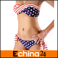 Sexy Lady Swimwear Victoria Women's Swimwear Stars-and-Stripes Beachwear Bikini Hot Swimsuits Free Shipping