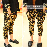 new Fashion leopard print elastic waist breathable child harem pants legging 2013 summer baby trousers