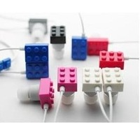 free shipping 3.5mm Building Block In-Ear Earphone Headphone Toy Bricks Earphones for MP3 MP4