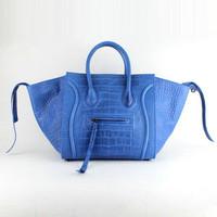 Original Calf Leather Ladies Phantom Bag Crocodile Leather Blue Free Shipping Wholesale