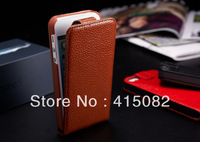 100% Genuine Leather Flip Case Cover for Iphone 5G Flip Cover For 4 Inch iPhone 5-Free Shipping