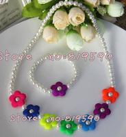 Free shipping/fashion flower necklace & Bracelet / flower necklace for chirdren/necklace&Bracelet Set /baby Children Jewelry Set