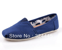 Promotion Flats  Unisex Men Women Blue Classic Canvas Shoes, Plain Casual Sneaker 7 colors + Free Shipping