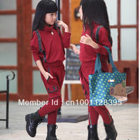 The young students sports kids school children in spring and autumn 2013 new children's sports two - piece suit