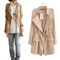 2013 New Fashion Women's Slim Fit Trench Coat Turn-down Collar Casual long Outwear Women Coat M L XL 5 colors free shipping