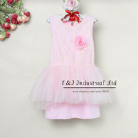 2014 Wholesale Baby Girl Dress Kids Summer Pink Lace Dress Chiffon And Cotton Children Clothing Free Shipping E130422-5