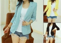 3 Colors Option:) Fashion Candy Color Basic Slim Foldable Casual Suit Jacket Tuxedo Blazer S M L