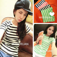 2013 summer all-match white neon color stripe short-sleeve T-shirt t323