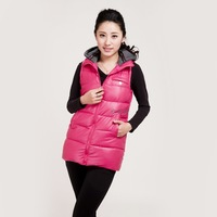 Autumn and winter women with a hood down cotton-padded jacket medium-long PU vest with a hood slim solid color thickening vest