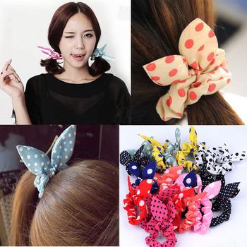 Wholesale lots mix color style 20pcs Rabbit Ear Hair Tie Bands Accessories Japan Korean Style Ponytail Holder Hair accessory