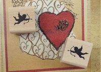 vintage classical Cupid angel wood stamp / gift stamp