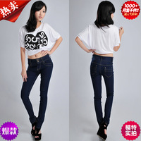 Autumn mid waist female trousers blue elastic skinny jeans female basic pencil pants jeans