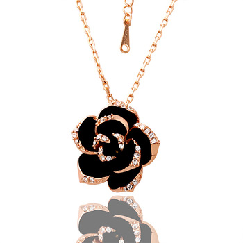18KGP N008 N009  Black Rose 18K Gold Plated statement Necklace for women Nickel free Genuine Elements Top Quality  Wholesale